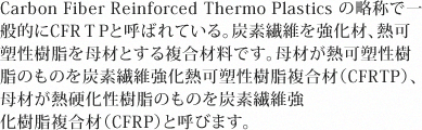 Carbon Fiber Reinforced Thermo Plastics の略称